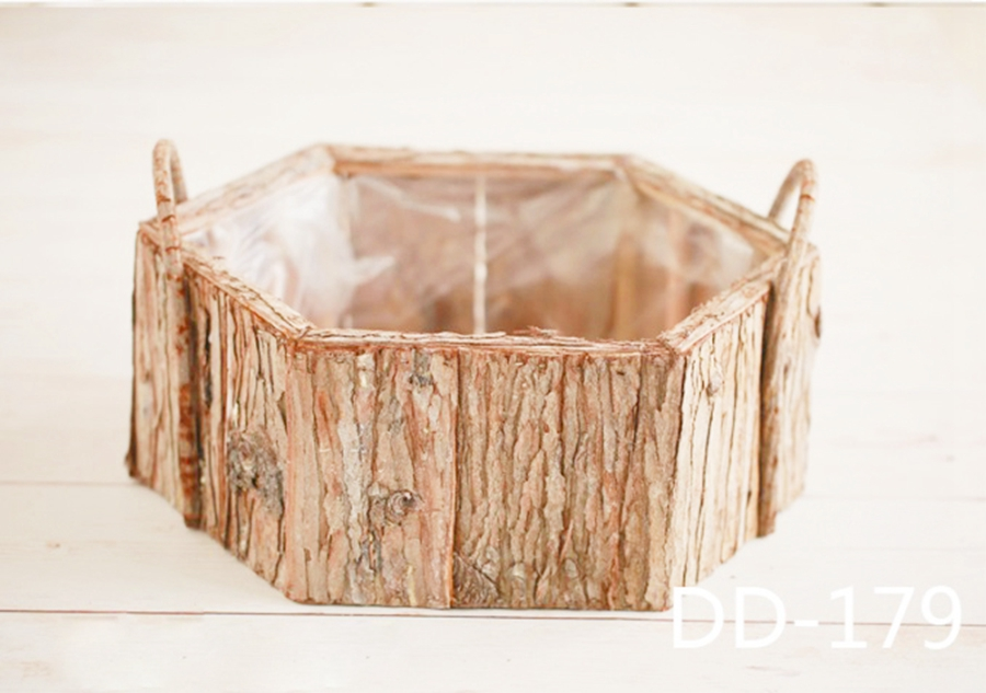 Wooden Newborn Photography Bowl Baby Photo Prop Vintage Baby Posing Bucket With Handle, #P2904