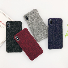 ottwn Phone Cases For iphone 6 6S 7 8 Plus Fabric Grain Winter Warm Hard PC New Back Case Cover XS Max XR X