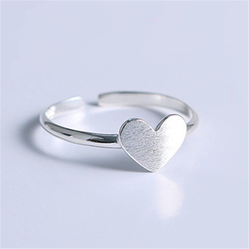 FFLACELL New Korean Winding Simple Sweet Heart Ring Adjustable  For Women White Gold Silver Color Openning Ring