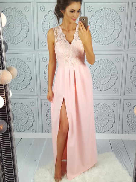 Hot Sale Lace Appliques Matte Satin Prom Gown Sexy Side Split Floor Length Evening Dress
