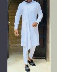 Набор мужских брюк в африканском стиле, индивидуальный пошив, однотонная белая футболка лоскутного покроя и Вечерние брюки с эластичным по...