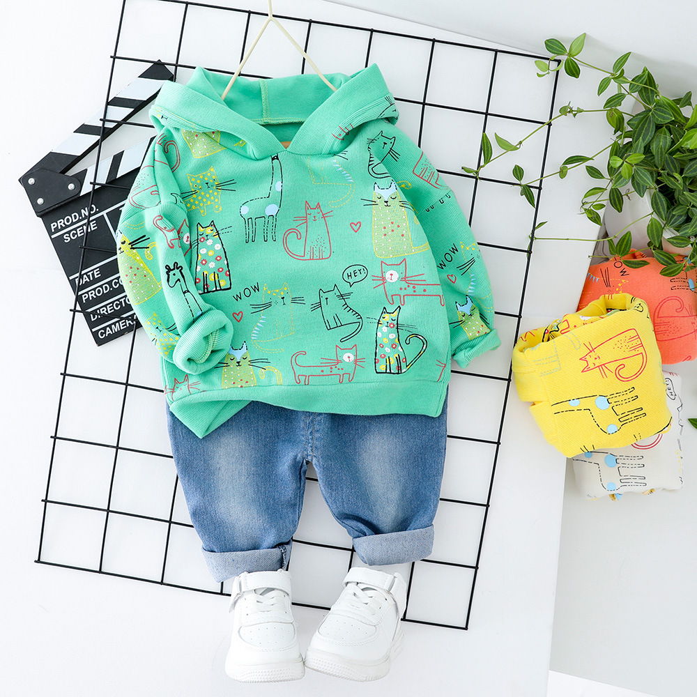 Toddler Baby Boys Clothes Girls Dress Hooded Top + Jeans Fashion 2 PCS Kids Cat Children Clothes Suit Printed Orange