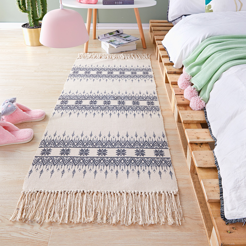 Bohemian Handmade Woven Cotton Carpet Bedroom Modern Bedside Rug Tassels Mat Kitchen Simple Home Hallway Runner Rugs