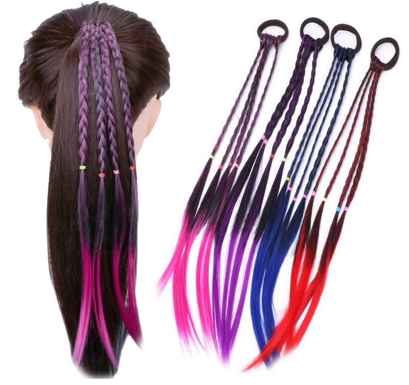 New Girls Colorful Wigs Ponytail Kids Hair Accessories Head Band Hair Ornament Headbands Rubber Bands Beauty Hair Bands Headwear