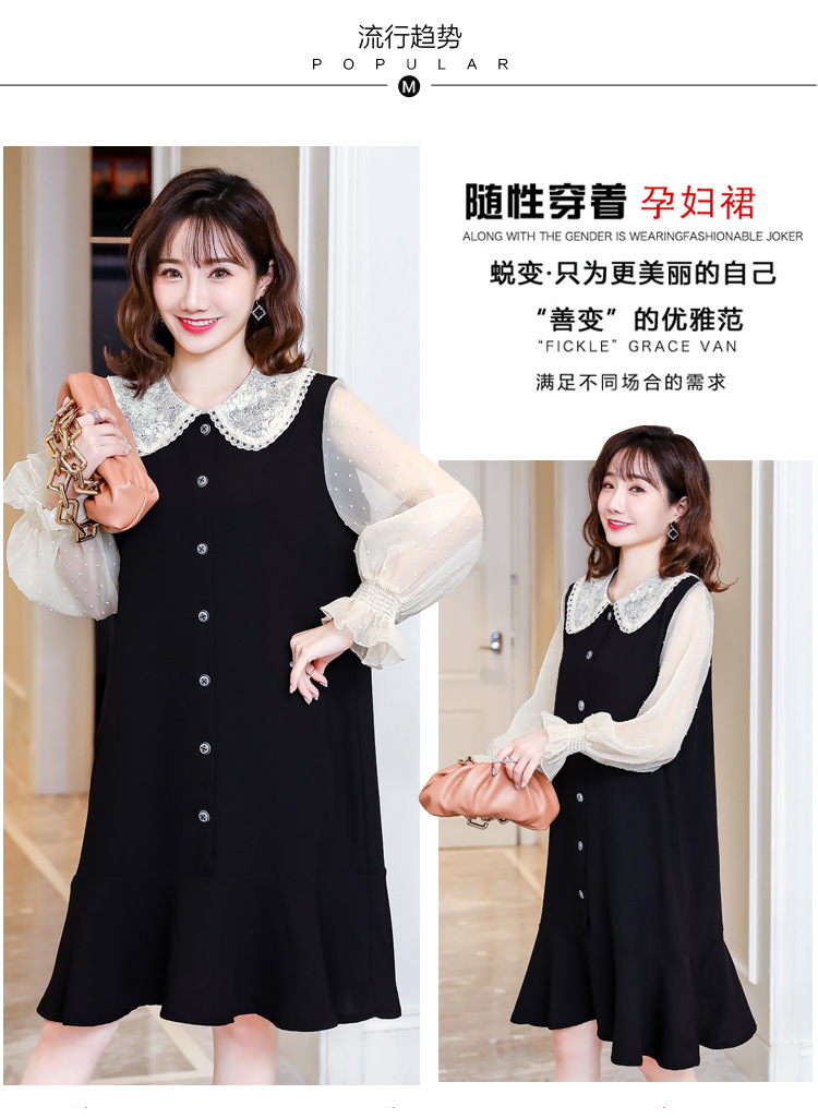 Cotton Spring Dress for Pregnant Women Maternity Summer Clothes for Pregnancy Black Pregnant Dress (4)