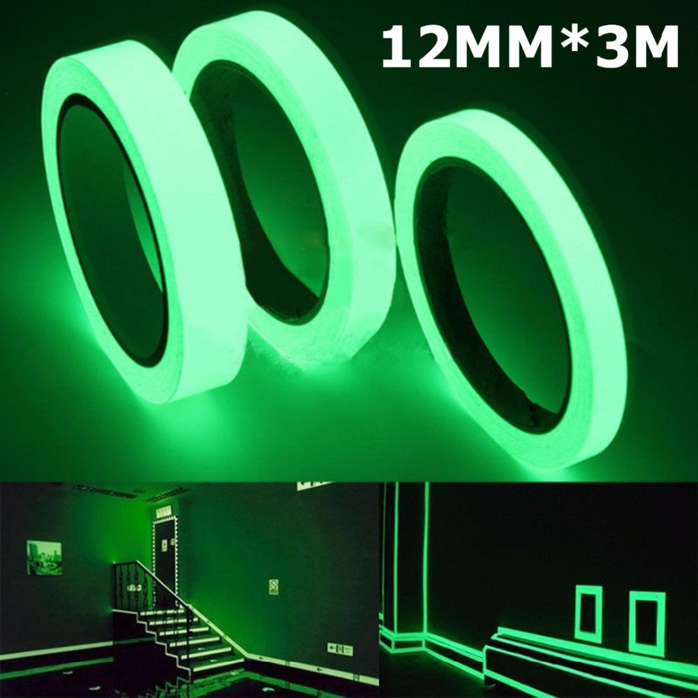 NiCe!!! Luminous Tape 12MM 3M Self-adhesive Tape Night Vision Glow In Dark Safety Warning Security Stage Home Decoration Tapes