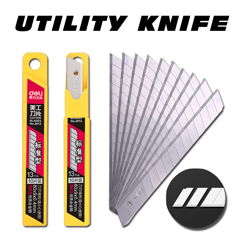 Deli 2012 10pcs/pack 9MM Utility Knife Blades Low Carbon Alloy Steel Paper Office Stationery Art Paper Cutting DropShipping Ye