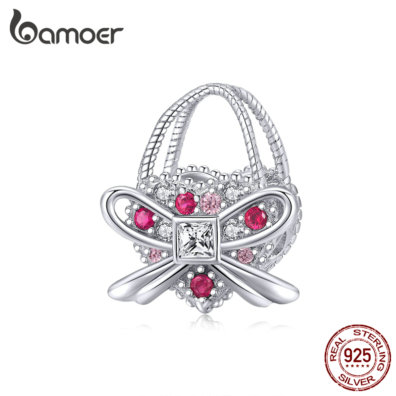 Bamoer Silver 925 Jewelry Romantic Bowknot Handbag Dazzling CZ Charm Fit Original Snake Bracelet & Bangle Women Jewelry BSC180