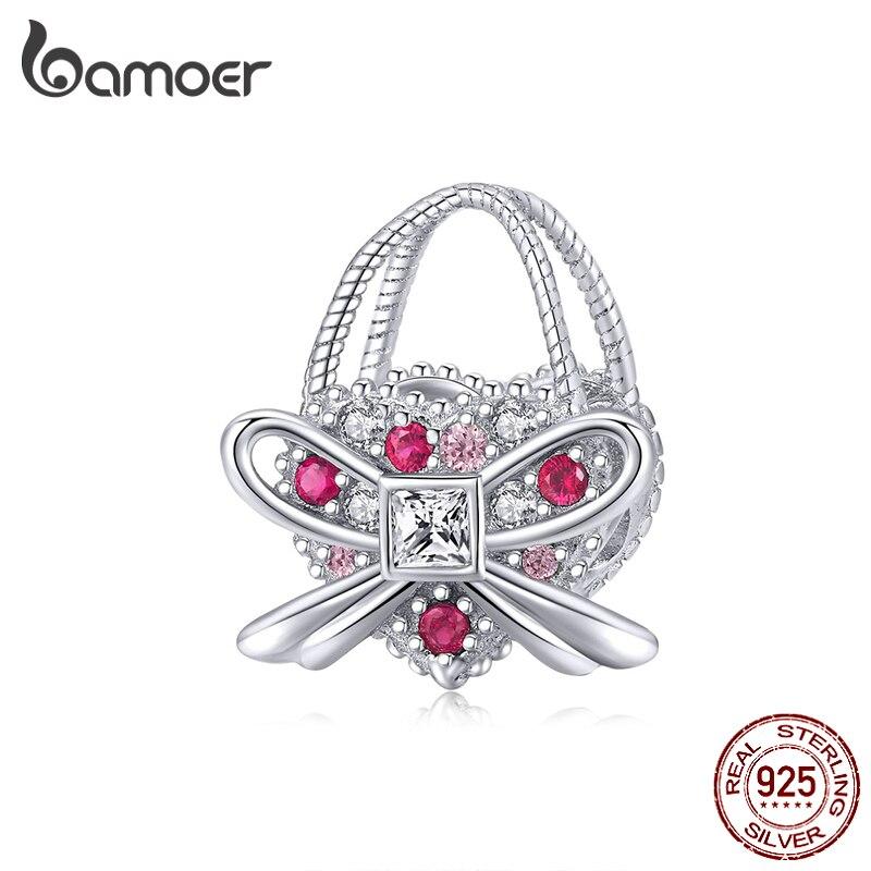 Bamoer Silver 925 Jewelry Romantic Bowknot Handbag Dazzling CZ Charm Fit Original Snake Bracelet & Bangle Women Jewelry BSC180