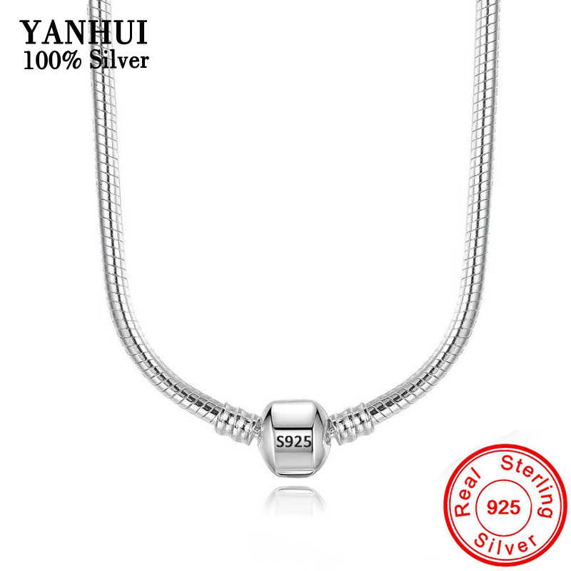 90% OFF! Original 925 Solid Silver Snake Chain Necklace Secure Ball Clasp Beads Charms Necklace For Women Wedding Gift Jewelry