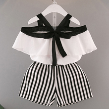 Kids Summer Suits 2019 New Style Children Clothes Suits Cute Bow Design T-shirt+Short Striped Pants For Girl Casual Clothes Sets стоимость