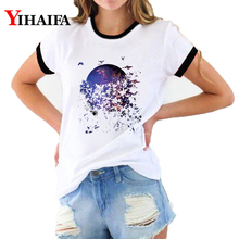 Women Summer T Shirts Animal Graphic Tees Fashion Starry Butterfly 3D T-shirt White Casual Couple Short Sleeve Tops