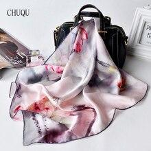 Чистый шелк квадратный шейный шарф Женская Бандана Платок цветочный принт натуральный шелковый платок дизайнер