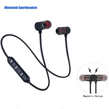 FOOVDO Wireless Bluetooth Earphone Handsfree Neckband Magnetic Headset Stereo Sport Ear Phones With Mic For All Smart Phone foovdo wireless 5 0 bluetooth headset long standby with mic handsfree earphone sport headphones ear hook for mobile phone