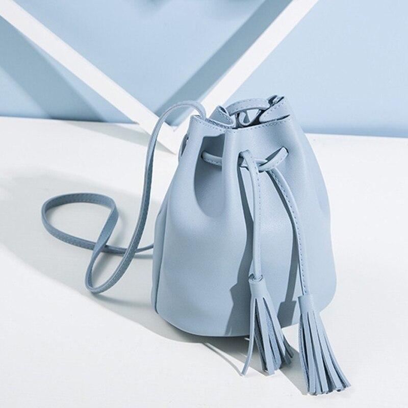Vintage Tassel Crossbody Bucket Bag Female Shoulder Handbags Drawstring Messenger Crossbody Bags