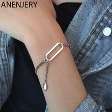 ANENJERY Vintage Handmade 925 Sterling Silver Bracelet for Women Adjustable Elegant Birthday Party Jewelry Gift S-B459