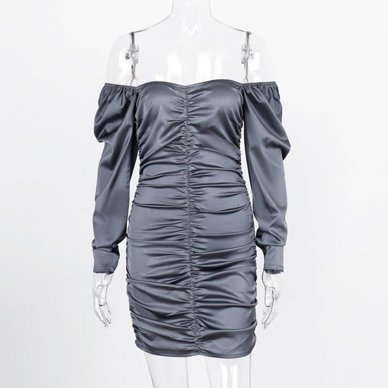 Hugcitar 2019 long puff sleeve slash neck satin pleated sexy mini dress autumn winter women solid party elegant streetwear outfi 2