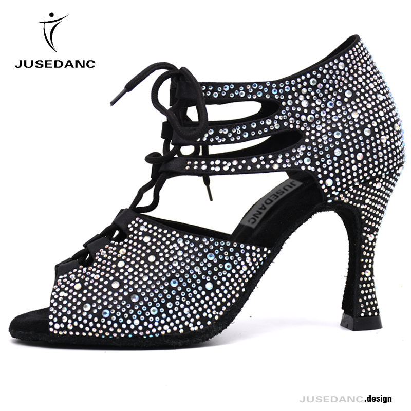 Dance Shoes Latin Woman Dance Shoes Low Heel Ballroom Dance Shoes For Girls  Jazz Shoes Woman Shining Rhinestone JuseDanc