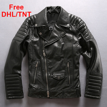 Spring Men's Sheepskin Coat Jacket Air Force Genuine Sheep Leather Motorcycle Biker Jackets Male Free DHL/TNT Fast Shipping стоимость