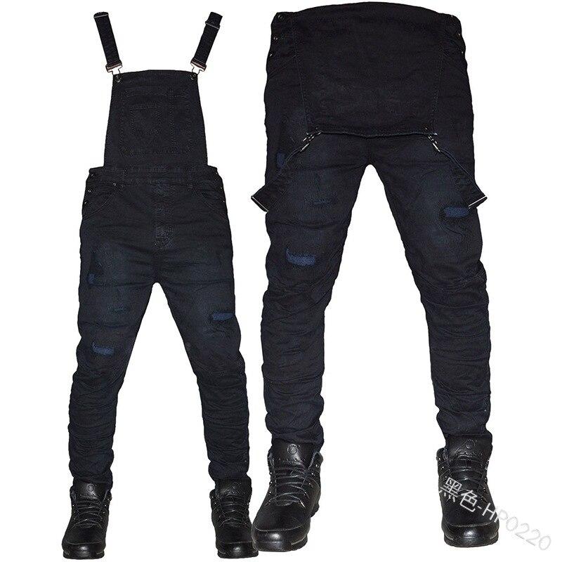 Mandylandy Men's Fitness Denim Overalls Fashion Long Jeans Pants Denim Jumpsuit Rompers Bib Pants Plus Size