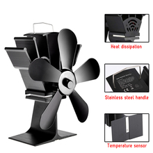 Wood Stove Fan Heat Powered Fireplace Log Wood Burner Silent Eco-friendly Fan 5 Blade Fan Chimney Heat Distributio