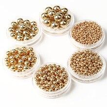 Atacado 3 4 6 8 10 12mm 30-500 pces ouro metal chapeado ccb redonda semente espaçador solta grânulos para fazer jóias diy