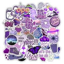 Pegatinas tipo INS, 50 Uds., bonitas, moradas, pequeñas, impermeables, para monopatín, Maleta, Graffiti