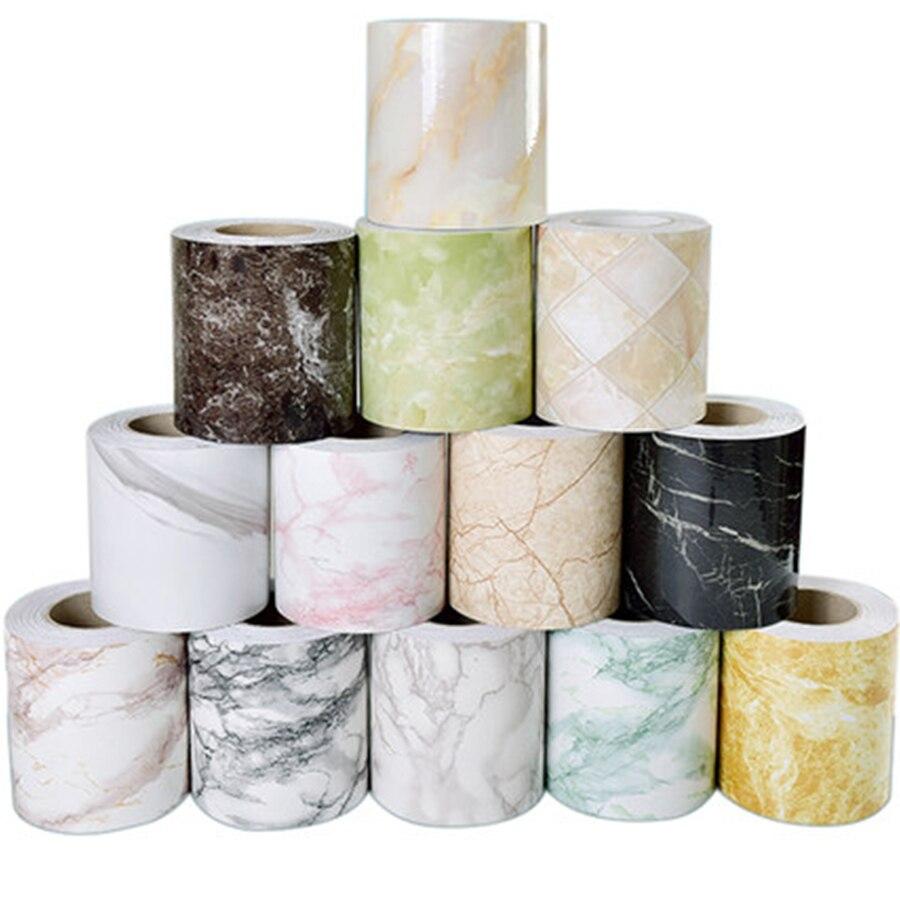 Marble Self adhesive Waist Line Wallpaper Waterproof Decorative Wall Border for Living Room Floor Corridor Skirting Line Decals
