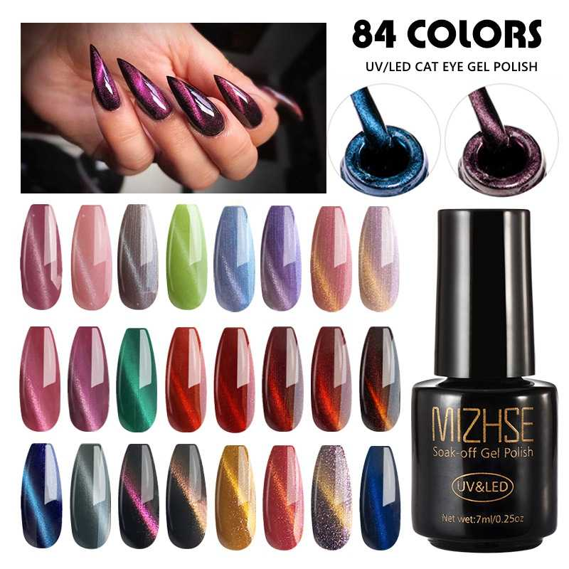 Mizhse 5D Cat Eye Nail Gel 7 Ml Cat Eyes Uv Gel Polish Rendam Off Magnetik Tongkat Kuku Pernis Kuku seni Semi Permanen LED Uv Gel