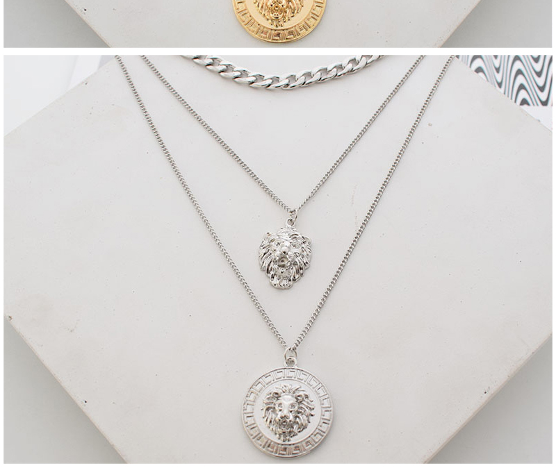 Ha02d7f1e02124b78ad397516a1ba6c3b7 - Punk Style Statement Metal Gold Color Chain Multi Layer Necklaces Lion Pattern Round Coin Pendant Necklace For Women Party