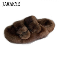 Luxury Posh Fur Slippers Buckle Strap Slip on Slides Slippers Shoes Brown Mink Fur Shoes Women Beach Flat Mules