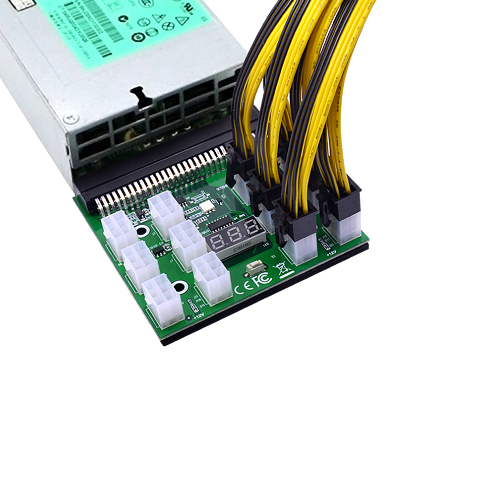 CHIPAL Power Module Breakout Board for HP 750W 1200W PSU Server Power Conversion +17pcs 12pcs 6Pin to 8Pin Power Cable for BTC-4
