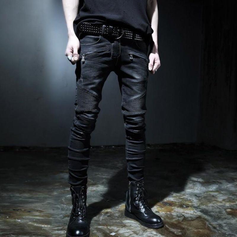 Top Brand Fashion Mens Slim Fit Denim Jeans Boys Slim Biker Pants Skinny Straight Runway Elastic Jeans Trouser Blue Size 28--42