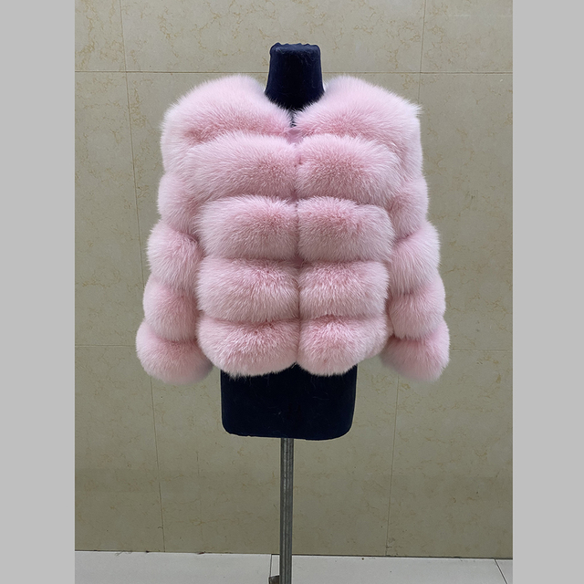 Fashion winter warm leather coat natural fox fur coat real fox fur jacket winter thick warm coat 5