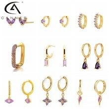 Canner quente orelha hoop 925 prata esterlina elegante roxo zircônia cúbica série hoop brincos de cristal flor jóias para presente feminino