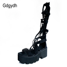 Gdgydh Cross-tied Lace Up Gladiator Sandals Women Knee High Heels Shoes