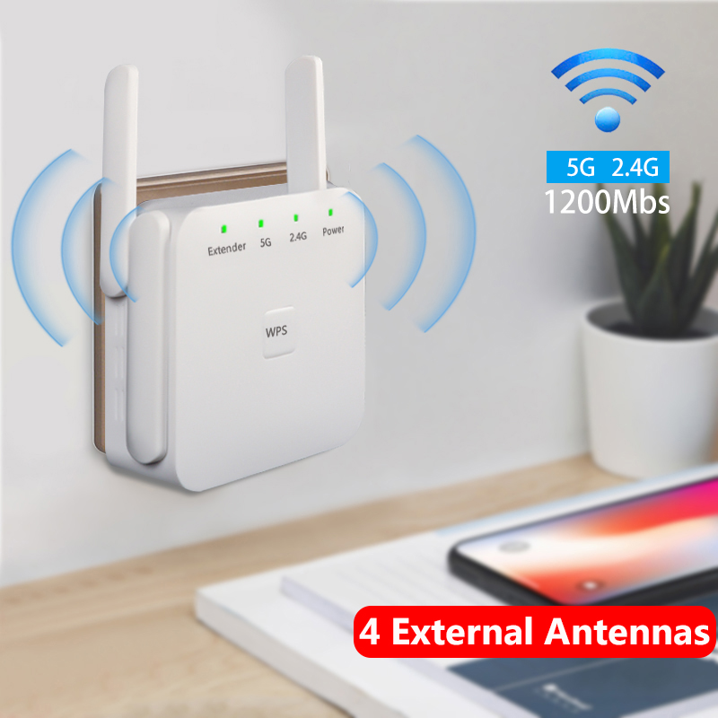 Wifi Range Extender 1200Mbps 2.4&5Ghz Dual Band Wifi Signal Repeater Booster Amplifier For Home Office With 4 External Antennas