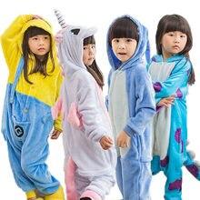 Peça única para crianças de unicórnio kigurumi, pijama infantil de anime para cosplay