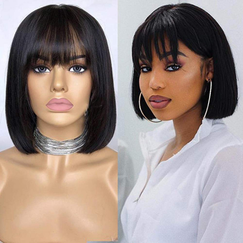 Short Bob Lace Front Wig With Bangs 150% Density Brazilian 13x4 Lace Front Straight Bob Wig For Women Pre Plucked Remy Bang Wig