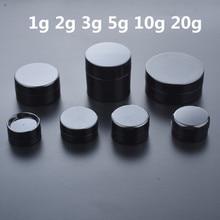 50pcs/lot Empty 1g 2g 3g 5g 10g 20g Black Portable Cream Jar jars Pot Box Makeup Nail Art Cosmetic Bead Storage Container