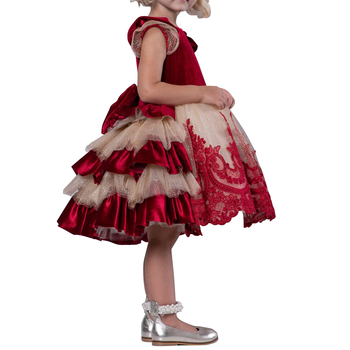 New Little Girls' Princess Wedding Christmas Velvet Dress Short Sleeves with Lace Appliques for Toddler Baby Girl