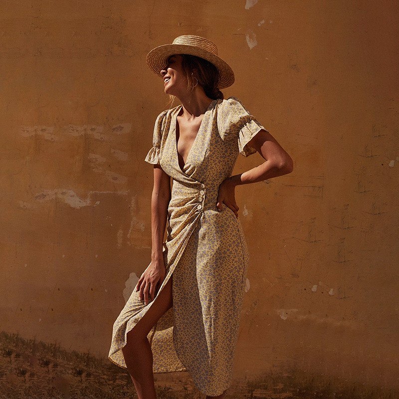 Летнее Новое асимметричное сексуальное платье средней длины