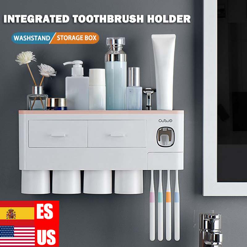 Magnetic Adsorption Inverted Toothbrush Holder Automatic Toothpaste Squeezer Dispenser Storage Rack Bathroom Accessories image