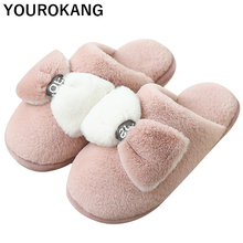 Winter Women Slippers Bowknot Warm Plush Home Slippers Cute Indoor Floor Couple Shoes Household Footwear For Lovers New Arrival new arrival 2018 christmas elk household slippers 6 colros warm soft woolen indoor slippers women slippers winter house shoes