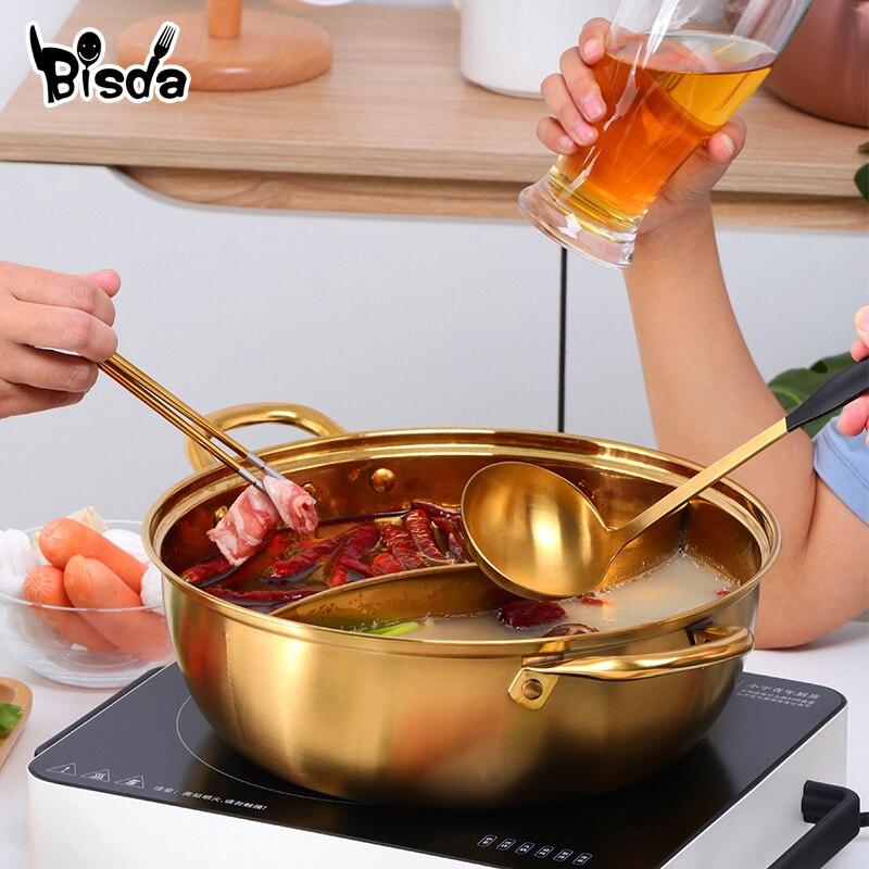 Горячий горшок из нержавеющей стали с двумя отделениями, кухонный горшок, кухонная утварь, однослойная совместимая суповая кастрюля, горшки для домашнего ресторана, инструменты
