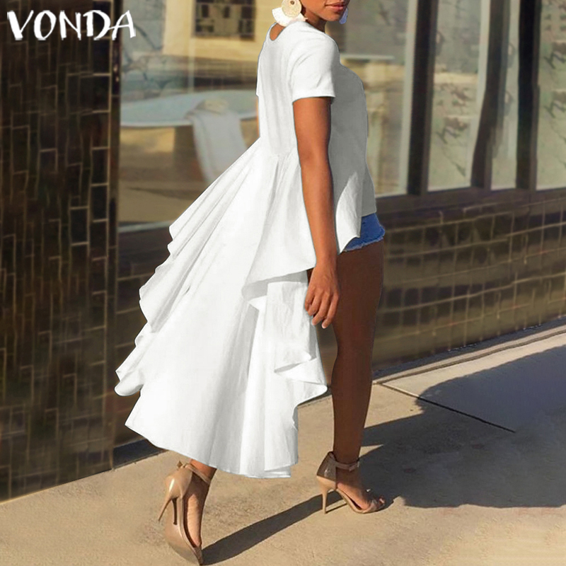 VONDA Tunic Women Blouse 2020 Casual Loose Ruffle Asymmetry Tops Irregular Hem Shirts Female Party Top Plus Size Summer Blusas
