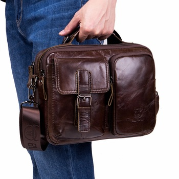 Vintage Natural Cow Leather Men Messenger Bags Durable Quality Small Men's Handbag Genuine Leather Bag