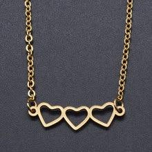 Collar de acero inoxidable con abalorio de Tres corazones para mujer, joyería de moda, collares, se acepta pedido OEM, envío directo