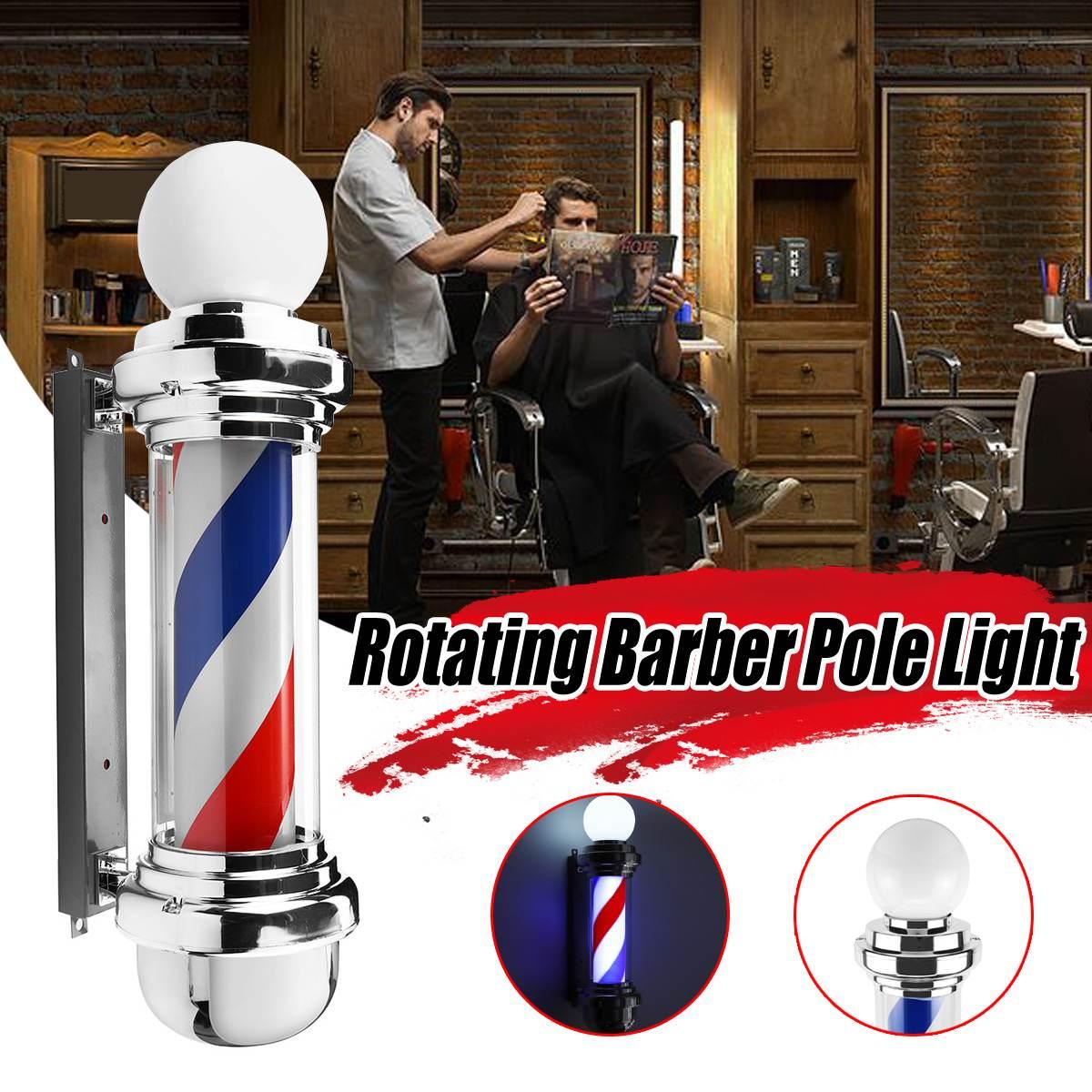 Barbier pôle lumière LED Salon de coiffure lumière lampe rotative avec ampoule marqueur lampe LED Downlights 68x19x24cm 220V EU/110 V prise américaine