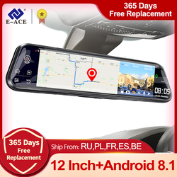E-ACE D14 12 Inch 4G Android 8.1 Car Dvr Mirror GPS Navigation Dash Cam Auto Video Recorder Dual Lens support 1080P Rear Camera